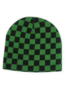 Black & Green Check Beanie Hat