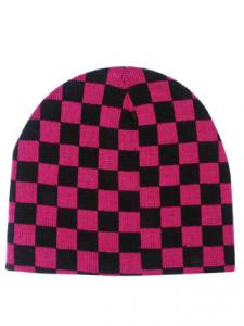 Black & Pink Check Beanie Hat