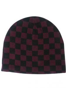Black & Purple Check Beanie Hat